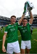 19 August 2018; David Reidy, left, and Tom Morrissey of Limerick following the GAA Hurling All-Ireland Senior Championship Final match between Galway and Limerick at Croke Park in Dublin.  Photo by Ramsey Cardy/Sportsfile