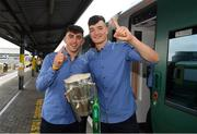 20 August 2018; Aaron Gillane, left, and Kyle Hayes with the Liam MacCarthy Cup as the Limerick squad depart from Heuston Train Station, Dublin. Photo by Piaras Ó Mídheach/Sportsfile