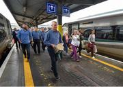 20 August 2018; Manager John Kiely with the Liam MacCarthy Cup as the Limerick squad depart from Heuston Train Station, Dublin. Photo by Piaras Ó Mídheach/Sportsfile