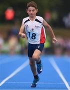 19 August 2018; Jack Dowdall of Ardee-Reaghstown, Co. Louth, competing in the Boys U12 & O10 100m event during day two of the Aldi Community Games August Festival at the University of Limerick in Limerick. Photo by Sam Barnes/Sportsfile