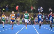 19 August 2018; Jayden Carmody of Our Lady of Lourdes-St Josephs, Co. Limerick, centre, competing in the Boys U12 & O10 100m event during day two of the Aldi Community Games August Festival at the University of Limerick in Limerick. Photo by Sam Barnes/Sportsfile