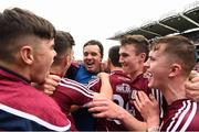 19 August 2018; Galway manager Jeffrey Lynskey celebrates with his players after the Electric Ireland GAA Hurling All-Ireland Minor Championship Final match between Kilkenny and Galway at Croke Park in Dublin. Photo by Piaras Ó Mídheach/Sportsfile