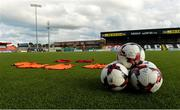10 August 2018; A general view of match balls before the UEFA Women's Champions League Qualifier match between Wexford Youths and Thór/KA at Seaview in Belfast. Photo by Oliver McVeigh/Sportsfile