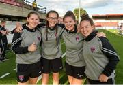 10 August 2018;Wexford Youths players Ciara Delaney, Aoibhan Webb Ciara Rossiter Rachel Hutchinson before  the UEFA Women's Champions League Qualifier match between Wexford Youths and Thór/KA at Seaview in Belfast. Photo by Oliver McVeigh/Sportsfile