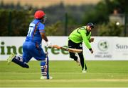 20 August 2018; Simi Singh of Ireland runs-out Mohammad Shahzad of Afghanistan, left, during the T20 International cricket match between Ireland and Afghanistan at Bready Cricket Club, in Magheramason, Co. Tyrone. Photo by Seb Daly/Sportsfile