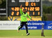 20 August 2018; Simi Singh of Ireland celebrates after running-out Mohammad Shahzad of Afghanistan during the T20 International cricket match between Ireland and Afghanistan at Bready Cricket Club, in Magheramason, Co. Tyrone. Photo by Seb Daly/Sportsfile