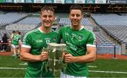 19 August 2018; Brothers Tom Morrissey and Dan Morrissey of Limerick with the Liam MacCarthy Cup after the GAA Hurling All-Ireland Senior Championship Final match between Galway and Limerick at Croke Park in Dublin. Photo by Ray McManus/Sportsfile