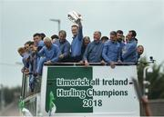 20 August 2018; William O'Donoghue raises the Liam MacCarthy Cup alongside manager John Kiely and members of the team as the team bus makes its way down the Ennis Road during the Limerick All-Ireland Hurling Winning team homecoming at the Gaelic Grounds in Limerick. Photo by Diarmuid Greene/Sportsfile