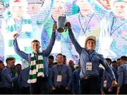 20 August 2018; Brothers Peter Casey, left, and Mike Casey from Na Piarsaigh GAA club celebrate with the Liam MacCarthy Cup during the Limerick All-Ireland Hurling Winning team homecoming at the Gaelic Grounds in Limerick. Photo by Diarmuid Greene/Sportsfile