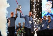 20 August 2018; Manager John Kiely, left, and captain Declan Hannon celebrate with the Liam MacCarthy Cup during the Limerick All-Ireland Hurling Winning team homecoming at the Gaelic Grounds in Limerick. Photo by Diarmuid Greene/Sportsfile