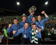 20 August 2018; Players from Na Piarsaigh GAA club, back row from left, Mike Casey, Kevin Downes, David Dempsey, front row from left, Shane Dowling and Peter Casey celebrate with the Liam MacCarthy Cup during the Limerick All-Ireland Hurling Winning team homecoming at the Gaelic Grounds in Limerick. Photo by Diarmuid Greene/Sportsfile