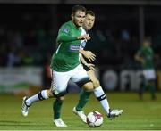 17 August 2018; Ger Pender of Bray Wanderers in action against Brian Gartland of Dundalk during the SSE Airtricity League Premier Division match between Bray Wanderers and Dundalk at the Carlisle Grounds in Bray, Wicklow. Photo by Matt Browne/Sportsfile