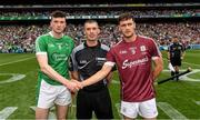 19 August 2018; Referee James Owens with the two captains, Declan Hannon of Limerick and David Burke of Galway, before the GAA Hurling All-Ireland Senior Championship Final match between Galway and Limerick at Croke Park in Dublin.  Photo by Ray McManus/Sportsfile