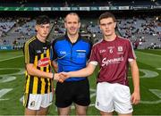 19 August 2018; Referee Johnny Murphy with the two captains, Conor Kelly of Kilkenny and Seán Neary of Galway, before the Electric Ireland GAA Hurling All-Ireland Minor Championship Final match between Kilkenny and Galway at Croke Park in Dublin. Photo by Ray McManus/Sportsfile