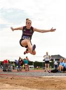 18 August 2018; Siobhan McCann of St. Michael's AC, Co. Laois, W40, competing in the Long Jump event during the Irish Life Health National Track & Field Masters Championships at Tullamore Harriers Stadium in Offaly. Photo by Piaras Ó Mídheach/Sportsfile