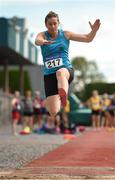18 August 2018; Ursula Barrett of St. Brendan's A.C., Co. Kerry, W40, competing in the Long Jump event during the Irish Life Health National Track & Field Masters Championships at Tullamore Harriers Stadium in Offaly. Photo by Piaras Ó Mídheach/Sportsfile