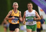 18 August 2018; Dermot Hayes Dundrum A.C., Co. Dublin, M50, left, and Bernard Feery of Clonmel A.C., Co Tipperary, M55, competing in the 5000m event during the Irish Life Health National Track & Field Masters Championships at Tullamore Harriers Stadium in Offaly. Photo by Piaras Ó Mídheach/Sportsfile