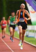 18 August 2018; Dominic Horan of Sli Cualann A.C., Co. Wicklow, M50, competing in the 5000m event during the Irish Life Health National Track & Field Masters Championships at Tullamore Harriers Stadium in Offaly. Photo by Piaras Ó Mídheach/Sportsfile