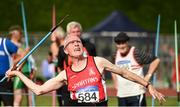 18 August 2018; Frank Stewart of City of Derry AC Spartans, M80, competing in the Javelin event during the Irish Life Health National Track & Field Masters Championships at Tullamore Harriers Stadium in Offaly. Photo by Piaras Ó Mídheach/Sportsfile