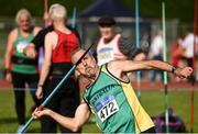 18 August 2018; Des Walsh of Perth, Australia, M60, competing in the Javelin event during the Irish Life Health National Track & Field Masters Championships at Tullamore Harriers Stadium in Offaly. Photo by Piaras Ó Mídheach/Sportsfile
