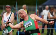 18 August 2018; Martin Peyton, of Mayo AC, competing in the Javelin event during the Irish Life Health National Track & Field Masters Championships at Tullamore Harriers Stadium in Offaly. Photo by Piaras Ó Mídheach/Sportsfile