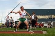 18 August 2018; Ernest Caffrey of Ballina A.C., Co Mayo, M80, competing in the Javelin event during the Irish Life Health National Track & Field Masters Championships at Tullamore Harriers Stadium in Offaly. Photo by Piaras Ó Mídheach/Sportsfile