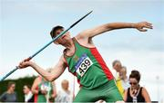 18 August 2018; Patrick Moran of Mayo A.C. M60, competing in the Javelin event during the Irish Life Health National Track & Field Masters Championships at Tullamore Harriers Stadium in Offaly. Photo by Piaras Ó Mídheach/Sportsfile