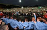 20 August 2018; Limerick manager John Kiely sings a song during the Limerick All-Ireland Hurling Winning team homecoming at the Gaelic Grounds in Limerick. Photo by Diarmuid Greene/Sportsfile