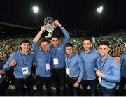 20 August 2018; Barry Nash, Tom Morrissey, Gearoid Hegarty, Andrew La Touche-Cosgrave, Dan Morrissey, and Lorcan Lyons with the Liam MacCarthy cup during the Limerick All-Ireland Hurling Winning team homecoming at the Gaelic Grounds in Limerick. Photo by Diarmuid Greene/Sportsfile