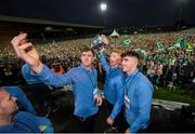 20 August 2018; Diarmaid Byrnes, Cian Lynch and Aaron Gillane, from Patrickswell GAA club, with the Liam MacCarthy cup during the Limerick All-Ireland Hurling Winning team homecoming at the Gaelic Grounds in Limerick. Photo by Diarmuid Greene/Sportsfile