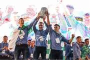 20 August 2018; Richie English, Pat Ryan and Darragh O'Donovan, from Doon GAA club, with the Liam MacCarthy cup during the Limerick All-Ireland Hurling Winning team homecoming at the Gaelic Grounds in Limerick. Photo by Diarmuid Greene/Sportsfile
