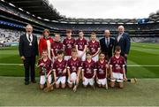 19 August 2018; President of the INTO Joe Killeen, President of the Camogie Association Kathleen Woods, President of Cumann na mBunscol Liam McGee, Uachtarán Chumann Lúthchleas Gael John Horan, with the Galway team, back row, left to right, Evan Walsh, Scoil Maelruain, Tallaght, Co Dublin, Ben Tully, Laragh NS, Stradone, Co Cavan, Seosamh Ó Loinsigh, Gaelscoil Bharra, Cabrach, Co Dublin, Charlie Carroll, Rathmore NS, Naas, Co Kildare, front row, left to right, Conn Mernagh, Murrintown NS, Murrintown, Co Wexford, Mark Leavy, Kilbride NS, Trim, Co Meath, James Sargent, St Brigid's Gulladu, Knockloughrim, Co Derry, Ciarán Logan, St Colmcille's PS, Ballymena, Co Antrim, Jake Nolan, Kildavin NS, Kildavin, Co Wexford, Cian Weir, Raharney NS, Raharney, Co Westmeath, ahead of the INTO Cumann na mBunscol GAA Respect Exhibition Go Games the GAA Hurling All-Ireland Senior Championship Final match between Galway and Limerick at Croke Park in Dublin. Photo by Daire Brennan/Sportsfile