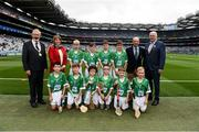 19 August 2018; President of the INTO Joe Killeen, President of the Camogie Association Kathleen Woods, President of Cumann na mBunscol Liam McGee, Uachtarán Chumann Lúthchleas Gael John Horan, with the Limerick team, back row, left to right, Jake Henley, Scoil Mhuire, Tallow, Co Waterford, Jack Harford, Kilkeary NS, Nenagh, Co Tipperary, Eoghan Durkan, Corballa NS, Corballa, Co Sligo, Canice Murphy, Annyalla NS, Castleblayney, Co Monaghan, front row, left to right, Daire Ryan, Newtownshandrum NS, Charleville, Co Cork, Barry Killion, St Mary's NS, Knockcroghery, Co Roscommon, Cormac McErlean, Gaelscoil Aodha Rua, Dún Geanainn, Co Tyrone, Jonathan Boyle, Scoil Mhuire NS, Bornacoola, Co Leitrim, Aidan Fitzpatrick, Knockbridge NS, Dundalk, Co Louth, Nathan Beattie, St Mary's PS, Maguiresbridge, Co Fermanagh, ahead of the INTO Cumann na mBunscol GAA Respect Exhibition Go Games the GAA Hurling All-Ireland Senior Championship Final match between Galway and Limerick at Croke Park in Dublin. Photo by Daire Brennan/Sportsfile
