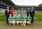 19 August 2018; President of the INTO Joe Killeen, President of the Camogie Association Kathleen Woods, President of Cumann Liam McGee, Uachtarán Chumann Lúthchleas Gael John Horan, with the Limerick team, back row, left to right, Annie Fitzpatrick, St. Joseph's PS, Madden, Armagh, Niamh Toland, St Patrick's Girls, Carndonagh, Donegal, Ella Ní Chathail, Gaelscoil Mhichil Ciosog, Inis, Clare, Orla Ryan, Caherelly NS, Kilmallock, Limerick, front row, left to right, Tara Burke, Scoil Chríost Rí, Drumnacurra, Kerry, Ava McKenna, Glenville NS, Glenville, Cork, Laura Black, St. John's PS, Carnlough, Antrim, Niamh Mooney, Aughamore NS, Ballyhaunis, Mayo, Kayla McCann, Scoil Mhuire, Cluain Tiobraid, Monaghan, Aine O'Neill, St Malachy's PS, Castlewellan, Down, ahead of the INTO Cumann na mBunscol GAA Respect Exhibition Go Games the GAA Hurling All-Ireland Senior Championship Final match between Galway and Limerick at Croke Park in Dublin. Photo by Daire Brennan/Sportsfile