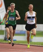 18 August 2018; Cathal McLaughlin of Derry Track Club, M50, left, Donal Iremonger of Donore Harriers, M45, competing in the 800m event during the Irish Life Health National Track & Field Masters Championships at Tullamore Harriers Stadium in Offaly. Photo by Piaras Ó Mídheach/Sportsfile
