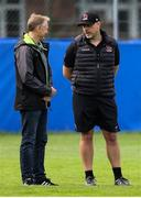 21 August 2018; Ireland Head Coach Joe Schmidt, left, with New Ulster Head Coach Dan McFarland during his first training session with the Ulster Squad at Pirrie Park, in Belfast. Photo by John Dickson/Sportsfile