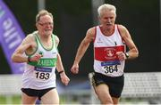 18 August 2018; Liam Mulready of Raheny Shamrock A.C., Co Dublin, M70, left, and Martin McEvilly of Galway City Harriers A.C., M70, competing in the 800m event during the Irish Life Health National Track & Field Masters Championships at Tullamore Harriers Stadium in Offaly. Photo by Piaras Ó Mídheach/Sportsfile
