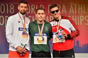 21 August 2018; Medallists in the Men's T13 200m's, from left, silver medallist Mateusz Michalski of Poland, gold medallist Jason Smyth of Ireland and bronze medallist Philipp Handler of Switzerland during the 2018 World Para Athletics European Championships at Friedrich-Ludwig-Jahn-Sportpark in Berlin, Germany. Photo by Luc Percival/Sportsfile