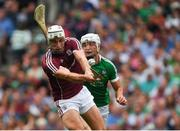 19 August 2018; Gearóid McInerney of Galway in action against Kyle Hayes of Limerick during the GAA Hurling All-Ireland Senior Championship Final match between Galway and Limerick at Croke Park in Dublin.  Photo by Piaras Ó Mídheach/Sportsfile
