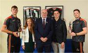 22 August 2018; Conor McManus of Monaghan and Peter Duggan of Clare have been voted as PwC GAA/GPA Players of the Month for July in football and hurling respectively. Pictured are Peter Duggan of Clare, left, and Conor McManus of Monaghan, right, with their PwC GAA/GPA Player of the Month Awards, alongside, from left, Marie Coady, PwC Partner, Uachtarain Cumann Luthchleas Gael John Horan and and Philip Greene, GPA, at a reception in PwC Offices, Dublin. Photo by Sam Barnes/Sportsfile
