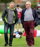 21 August 2018; Ireland Head Coach Joe Schmidt, left, chats with Jim Neilly during Ulster Rugby training at Pirrie Park, in Belfast. Photo by John Dickson/Sportsfile