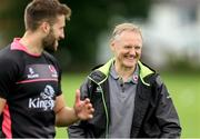 21 August 2018; Stuart McCloskey chats with Ireland Head Coach Joe Schmidt during Ulster Rugby training at Pirrie Park, in Belfast. Photo by John Dickson/Sportsfile