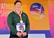 22 August 2018; Orla Barry of Ireland receives her Gold Medal from the F57 Discus event during the 2018 World Para Athletics European Championships at Friedrich-Ludwig-Jahn-Sportpark in Berlin, Germany. Photo by Luc Percival/Sportsfile