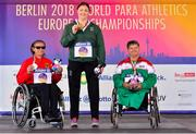 22 August 2018; Medallists from left, silver medallist Martina Willing of Germany, gold medallist Orla Barry of Ireland and bronze medallist Ivanka Koleva of Bulgaria during the medal ceremony for the F57 Discus event during the 2018 World Para Athletics European Championships at Friedrich-Ludwig-Jahn-Sportpark in Berlin, Germany. Photo by Luc Percival/Sportsfile