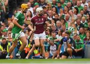 19 August 2018; Joe Canning of Galway celebrates scoring a point during the GAA Hurling All-Ireland Senior Championship Final match between Galway and Limerick at Croke Park in Dublin.  Photo by Piaras Ó Mídheach/Sportsfile