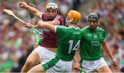 19 August 2018; Gearóid McInerney of Galway in action against Séamus Flanagan, centre, and Gearóid Hegarty of Limerick during the GAA Hurling All-Ireland Senior Championship Final match between Galway and Limerick at Croke Park in Dublin.  Photo by Piaras Ó Mídheach/Sportsfile