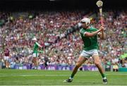 19 August 2018; Aaron Gillane of Limerick takes a free during the GAA Hurling All-Ireland Senior Championship Final match between Galway and Limerick at Croke Park in Dublin.  Photo by Piaras Ó Mídheach/Sportsfile