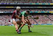 19 August 2018; Gearóid Hegarty of Limerick in action against Gearóid McInerney of Galway during the GAA Hurling All-Ireland Senior Championship Final match between Galway and Limerick at Croke Park in Dublin.  Photo by Piaras Ó Mídheach/Sportsfile