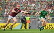 19 August 2018; Jonathan Glynn of Galway in action against Mike Casey of Limerick during the GAA Hurling All-Ireland Senior Championship Final match between Galway and Limerick at Croke Park in Dublin.  Photo by Piaras Ó Mídheach/Sportsfile