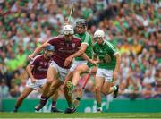 19 August 2018; Gearóid McInerney of Galway in action against Gearóid Hegarty of Limerick during the GAA Hurling All-Ireland Senior Championship Final match between Galway and Limerick at Croke Park in Dublin.  Photo by Piaras Ó Mídheach/Sportsfile